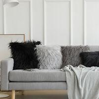 KQ_ Soft Faux Fur Throw Pillow Case Fluffy Plush Sofa Cushion Cover Home Decor 4