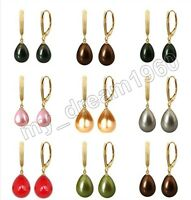 Genuine Drop South Sea 12X16mm Shell Pearl Gold Plated Leverback Hook Earrings