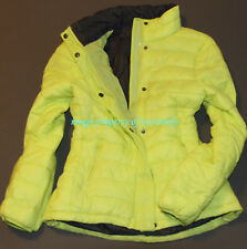 NWT! American Eagle AEO AE Womens Lightweight Puffer Jacket White/Neon Green/Red