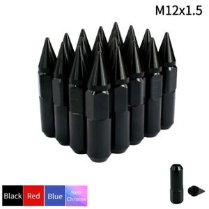 20pcs Black Lug Nut Set Spike Extended Wheel Stud Tuner M12x1.5 for Honda Acura