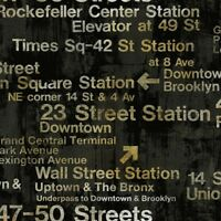 Wallpaper Designer Modern New York Train Station Subway Street Signs on Black