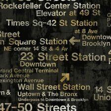 Wallpaper Designer Modern New York Train Station Subway Street Signs on Black