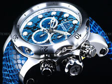 Invicta Men Electric Blue Snake Venom Swiss Made Chrono Leather SS Watch