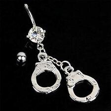 Bauchnabelpiercing Stahl Anhänger Handschellen versilbert Kristall Strass Ring