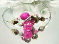 Halsreif Collier fünfreihiges Statement Halsreif Halskette silber pink 302i