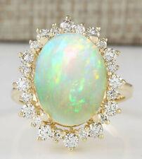 5.40 Carat Natural Opal 18K Yellow Gold Diamond Ring
