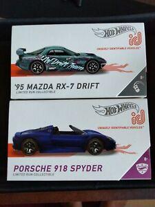 NEW ID CARS Mazda RX-7 & PORSCHE 918 SPYDER HOT WHEELS