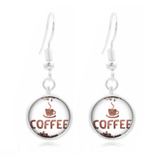 Coffee bean glass Frea Earrings Art Photo Tibet silver Earring Jewelry #107