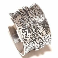 Solid 925 Sterling Silver Spinner Ring Meditation Statement Ring Size sr24490