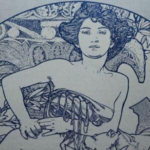 EXRARE ORIGINAL1908 ALPHONSE MUCHA LITHOGRAPH AMAZING HUGE! BEAUTIFUL LADY!