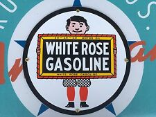 WHITE ROSE GASOLINE top QUALITY porcelain coated 18 GAUGE steel SIGN