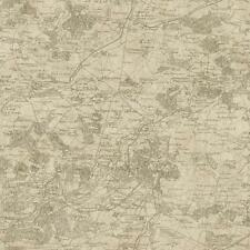 Wallpaper Old World Vintage French Map Kahki on Beige