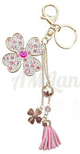 Rhinestone Lover Key-chain Bling Key Rings Handbags Charms(Flower -Pink)