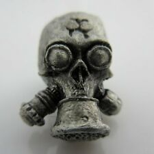 Biohazard Gas Mask Paracord/Leather Bead in Pewter - Rick Barrett Designs
