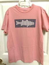 Vineyard Vines Peach White Blue Whale Fish Knit Top Shirt Size L 14