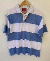 R.M. WILLIAMS blue white stripe short sleeve polo t-shirt size XL