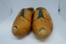 Wooden Shoes Dutch Hand Vintage Holland Clogs Carved Painted Pair Wood Shoe Old