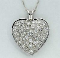 1.55 CT Diamond Heart Pendant Necklace 14K White Gold GP Round Brilliant Cut