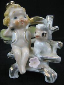 Vintage Cherub & Lamb on Bench Japan Ceramic Figurine Excellent Condition