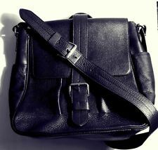 Tiffany & Co Unisex Everett Messenger Bag in Black Onyx Grain Leather. MINT