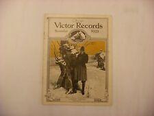 Original Victor Phonograph Record Catalog - November, 1921