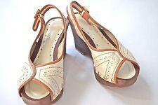 BCBG girls cream brown wood wedge womens shoes heels sz 36.5 / 6.5