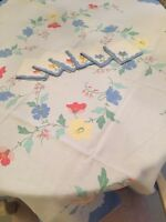 LOVELY VINTAGE MADEIRA LINEN TABLECLOTH NAPKIN SET WITH APPLIQUE