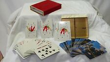 Redislip Double Deck Playing Cards w/ Red Felt & Gold Case