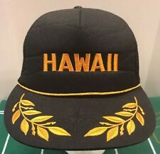 Urban Outfitters BDG Hawaii Trucker Cap Hat Captain Snapback Black Gold Leaf NWT