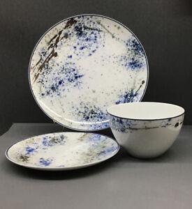 Noritake® Blue Nebula 3-Piece Sample Place Setting, Fine Porcelain