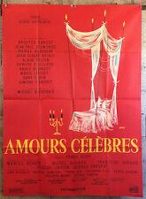 cinema-affiche originale- AMOURS CELEBRES -120x160-Siry-Bardot-Belmondo-Delon