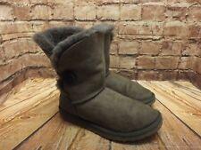 Ladies UGG Australia Grey Sheepskin Pull On Flat Bailey Ankle Boots Size UK5 US7