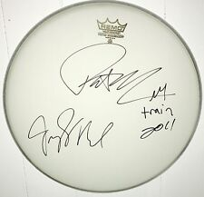 "Train Signed Drum Pat Monahan Autographed Drumhead 14"" & Jimmy Stafford & sketch"