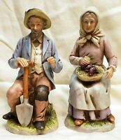 Homco 1433 Old World Farmers Woman & Man Porcelain Figurines Home Interiors