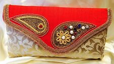 Red Cream Gold Handbag Clutch Wallet Bollywood Indian Sari Dress Purse Art Silk