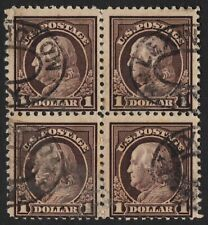 US Sc# 518 USED { $1.00 FRANKLIN BLOCK OF 4 } FLAT PLATE PERF 11 OF 1917 SERIES