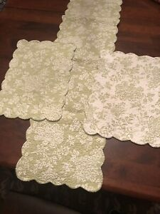 C & F Shelby Green Quilted Reversible Placemats