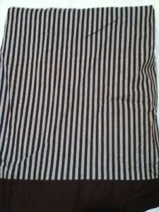 NEW Pottery Barn Crib Bed Skirt White w Brown & Gray Stripes