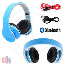 Foldable Wireless Bluetooth 4.2 Stereo Blue Headphone Handsfree Blue with Cable
