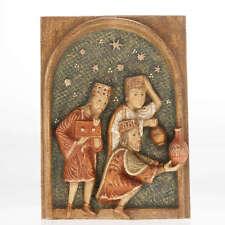 Bas relief Mages Crèche d'Autun bois peint