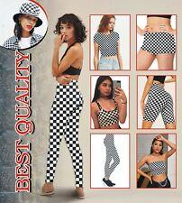 Checker Bandeau Crop top cycling Shorts pants Leggings T shirt Black White check