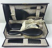 VINTAGE 1920's REAL EBONY VANITY BRUSH SET IN LEATHER CASE - UNUSED - MIRROR ETC