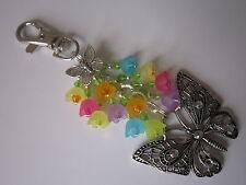 Keyring / Bag Charm - Tibetan Silver Filigree Butterfly & Summer Flowers