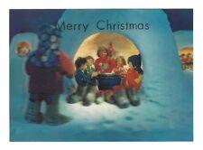 OLD VINTAGE 3-D POSTCARD MERRY CHRISTMAS JAPANESE KID CHILDREN JAPAN STEREO CARD