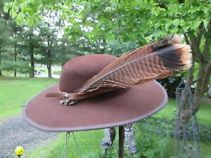 REENACTOR 18TH C F&I REV WAR LONG HUNTER HAT BROWN WOOL NEW 7 1/2 TURKEY FEATHER