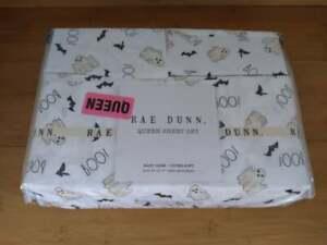 Rae Dunn Halloween Ghosts Bats BOO! 4 pc Queen Sheet Set