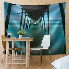 Wall26 - Reflection on the Ocean of a Wooden Bridge - Fabric Tapestry - 51x60