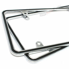 (2) Custom Metal Chrome-Black Thin License Plate Tag Frames for Auto-Car-Truck