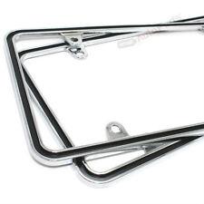 (2) Custom Metal Chrome-Black Thin License Plate Tag Frames for Auto-Car-Truck