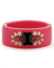 Kate Spade Vibrant Pink IN THE MOOD Resin & Gems Hinged Bangle Bracelet CUFF
